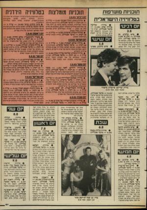 העולם הזה - גליון 2396 - 3 באוגוסט 1983 - עמוד 41 | תוכניות מועדפות בטלוויזיה הישראלית 1ום רביע• (5.30 • סרט בעיירה — חלק — מדבר עברית) .חלקו הראשון של הסרט, המבוסס על סיפורו של שלום עליכם טופלה טוטריטו. בסרט