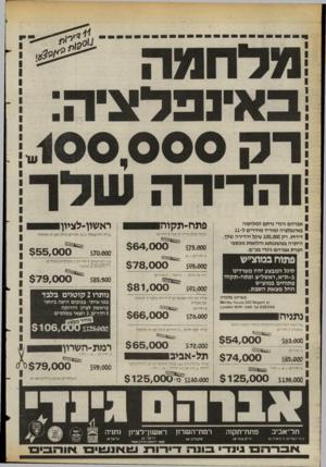 העולם הזה - גליון 2397 - 10 באוגוסט 1983 - עמוד 42 | אברהם גינדי נרתם למלחמה באינפלציה ומוריד מחירים ל־ 11 דירות. רק 100,000 שקל והדירה שלך. היתרה במ שכנתא והלואות מכספי חברת אברהם גינדי בע״מ. פתוח במוצ״ש לרגל