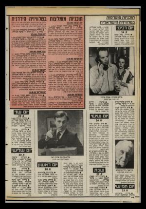 העולם הזה - גליון 2399 - 24 באוגוסט 1983 - עמוד 50 | ת 1ב1י 1ת מועדפות בטלוויזיה הישראלית יום רביעי 24.8 • גידור: עוד להיט ( — 8.02 מזמר אנגלית). מיבחר שירים לועזיים, ביניהם: ליידי אהבי אותי בביצוע ג׳ורג׳ בנסון,