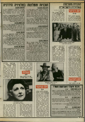 העולם הזה - גליון 2400 - 31 באוגוסט 1983 - עמוד 54 | תוכניות מזעדפנת בטלחיזיה הישראלית בטלוויזיה הירדנית 31.8.83 מומלצות תוכניות מם שבת 3.9.83 יום רביעי נזון קרוזו — ב 5.30 מדבר אנגלית). יום רביעי • סרט תעודה: