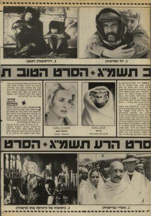 העולם הזה - גליון 2403 - 20 בספטמבר 1983 - עמוד 44 | .2דודסקאזץ(יפאן) .1יול(תורכיה) כ תשסג״ג* הסרט הטוב ת ם כאשר היתה ישראל אלופת־עולם (או ,כמעט) בשטח הצפיה בסרטים, לא ראו סראלים כל־כך הרבה סרטים, כמו שראו שמ״ג.