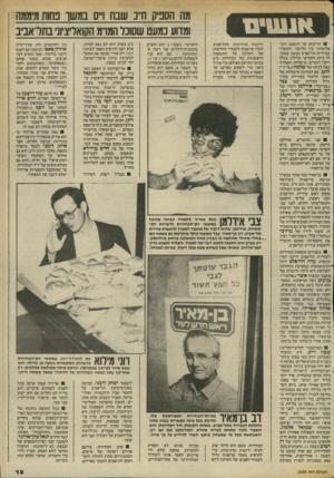 העולם הזה - גליון 2409 - 2 בנובמבר 1983 - עמוד 19 | הדיונים על ההסכם הקואליציוני בין הליכוד והמערך בעיירית תל־אביב כמעט שסוכ־לו ביום החמישי בלילה, בגלל ריבוי דוברים. מישלחת העבודה .באה לביתו של שלמה(״צ׳יץ׳״<