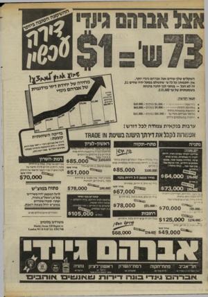 העולם הזה - גליון 2409 - 2 בנובמבר 1983 - עמוד 56 | השקלים שלך שווים אצל אברהם גינרי יותר. אין חוכמות! כל 73ש׳ שתשלם בפועל יהיו שווים .$1 זה לא הכל ־־ בנוסף לכך תזכה בהנחת משמעותית של עד .$15,000 תנאי רכישה׳, מ