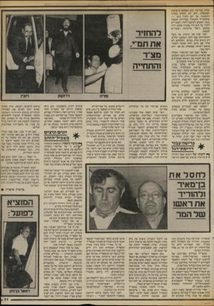 העולם הזה - גליון 2417 - 28 בדצמבר 1983 - עמוד 11 | שהיה סגן־שר, הוא השתתף בישיבות הממשלה. הוא לא הופיע בבניין הקסטל, אך יזם רעיון נועז — שהמפד״ל תתמודד בבחירות הבאות בשני ראשים. למיפנה לחוד, והצעירים לחוד. כך