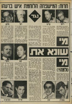 העולם הזה - גליון 2421 - 25 בינואר 1984 - עמוד 29 | כל אדם שפוי, הרואה את רוני מילוא — אולי אב־הטיפוס של צבר ימני־קיצוני במדינת ישראל — מתחרה בשרון, ממש מתפלל למען מילוא. … יו״ר סיעת הליכוד, ח״כ רוני מילוא,