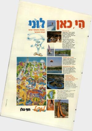 העולם הזה - גליון 2441 - 13 ביוני 1984 - עמוד 71   לונה גל חוף גולן לראשונה בישראל -פארק שעשועי מיס משגע, מגוון פעילויות ספורט־מיס, פאב־מסעדה, חורשות, חוף רחצה מוסדר ומגרש חניה -במסגרת אחת מתוכננת ומדליקה: לונה
