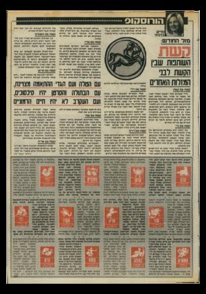 העולם הזה - גליון 2465 - 28 בנובמבר 1984 - עמוד 25 | מדים בנימינ׳ אינו מרשה לעצמו לזלזל בהתחייבויות, וכך יחיו שניים שעולמם שונה לחלוטין, כשה אחד מוסיף עניין ותוכן לשני. כדאי שיעברו מזל החודש: קשת עם טלה התאמה
