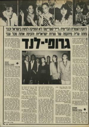 העולם הזה - גליון 2487 - 1 במאי 1985 - עמוד 39 | להקת־הצמרת הבריטית !״רסטרייטס״ לא הספיקה לנחות בישראל וכבר ,נחתה עליה מיתקפה של נעחת ישראליות והקיפה אותה מכל עבר ריד היה לראות את זה בעיניים ^ כרי להאמין: