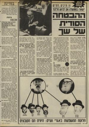 העולם הזה - גליון 2514 - 6 בנובמבר 1985 - עמוד 11 | במדינה 11ח״ניס דתיים יישאר! בממשלה אם ׳נדוש הליכוד (המשך מעמוד )6 כי הערבים דחו את יוזמת־השלום הגדולה והנדיבה של ישראל. כי ידה המושטת של ישראל שוב לא מצאה יד