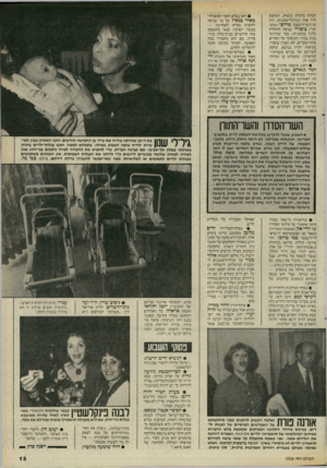 העולם הזה - גליון 2526 - 29 בינואר 1986 - עמוד 13 | הבחין כדמות מוכרת, הגוחנת ליר אחר מגלגלי־מכונית. היה זה השר־לשעבר מרדכי (,מוט־קה״< ציפורי שניסה להחליף גלגל במכוניתו. כמי שהורגל בנהג צמוד, המופקד על תקרים