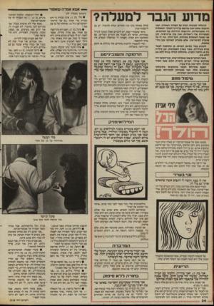העולם הזה - גליון 2528 - 12 בפברואר 1986 - עמוד 34 | מד 1ע הגבר למעלה? קיבלתי תגובות רנות על המדור האחרון, ואני חושבת שסיף־סוף עליתם על דרד״המלד. השאלות היו אקטואליות, והרגשתי הזדהות עם הכותבים. הפנטזיות שלי