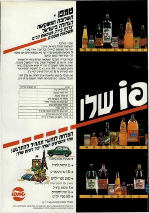 העולם הזה - גליון 2545 - 11 ביוני 1986 - עמוד 26   ועכשיו מכריזה תשלובת המשקאות הגדולה ביותר על המשחק הגדול: זהו את 10 המשקאות הבאים מבין 79 המוצגים בתמונה, רשמו את מספר המשקה ליד הגדרתו ושלחו את הטבלה בצרוף