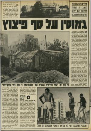 העולם הזה - גליון 2555 - 20 באוגוסט 1986 - עמוד 31 | וחצי, אחר־כך עברתי למיפקדה של הצבא — זה המקום שאני גרה בו עכשיו. ־המקום היה פרוץ, בלי חלונות, קירות שבורים — רק שני חדרים קטנים והרבה נחשים,״ ממשיכה שושנה