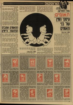 העולם הזה - גליון 2596 - 1 ביוני 1987 - עמוד 34   מזל החודש: אינה יחידה, כי הוא מעדיף להיות זמין לכל הנשים. בגלל חוסר האחריות הבסיסי שלו, המחשבה שהמישחקים שלו יכולים גם לגרום טרגדיות לא נתפסת אצלו. אם לאחר