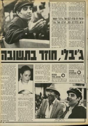 העולם הזה - גליון 2672 - 16 בנובמבר 1988 - עמוד 39 | ץ והי המציאות הישראלית הח־ ( השה: האב — לוחם ותיק. הבן — אמן, חוזר בתשובה. האב, יצחק ג׳יבלי, הוא ״ג׳יבלי הקטן״( ,להבדיל מ״ג׳יבלי הגדול״ ,האלוף (מיל׳) בנימין