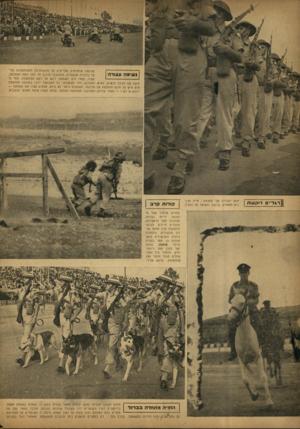 העולם הזה - גליון 758 - 8 במאי 1952 - עמוד 4   שלושה אופנועים מבריקים על מכונותיהס המצוחצחות הגיעו בדהירה שגעונית, הסתובבו סיבוב חד לפני במת ההצדעה, נשימה עצורה עצרו, עמדו דוס. האמצעי ניגש אל ראש הממשלה,