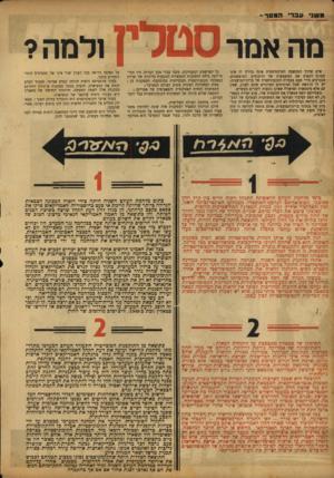 העולם הזה - גליון 784 - 6 בנובמבר 1952 - עמוד 4 | ב שני ע ב רי המסר- מה אמר אדם שדרך המחשבה המרכסיסטית אינה נהירה לו אינו מסוגל לתפוס את המשמעות של הויכוחים המופשטים, הנערכים מידי פעם בצמרת הקומוניסטית של
