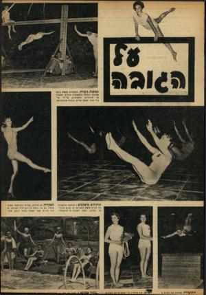 העולם הזה - גליון 866 - 27 במאי 1954 - עמוד 17   קפיצות נועזות: מתעמלות סופיה ביצעו קפיצות נועזות ממשקופים גבוהים, התגברו על זזדגווניות הופעותיהן על־ידי תר־גילי שיווי משקל אסיים, כבסרט קולנוע אנוי. תרגילים