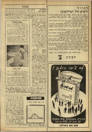 העולם הזה - גליון 926 - 14 ביולי 1955 - עמוד 12 | אנשים לחייל ולאיש חיל המילואים! הצבא הוא יסוד כטהוננו. בטחון הוא התנאי הראשוני לקיומנו ועצמאותנו המדינית. החייל העברי מופקד על משימת הבטחון ולו צריבה המדינה