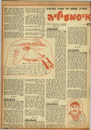 העולם הזה - גליון 996 - 14 בנובמבר 1956 - עמוד 31 | המצרית, צפתה ס1ל העמדה היעזראלית קילומטר, אם כי במרחק של 10 קילומטר, באיסמעיליה, יש מים בשפע. ליד השלט שעליו כחוב 10.קילומטרים עד איסמעיליה״ ,זוהי חובת־כבוד